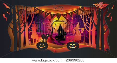 Cut paper Happy Halloween festive abstract background, greeting card. Paper Art frame, cut paper texture with colorful paper layers. Holiday invitation background for Halloween Party advertising.