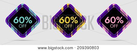 60 Off Discount Sticker. 60 Off Sale and Discount Price Banner. Vector Frame with Grunge and Price Discount Offer