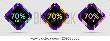 70 Off Discount Sticker. 70 Off Sale and Discount Price Banner. Vector Frame with Grunge and Price Discount Offer