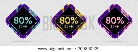 80 Off Discount Sticker. 80 Off Sale and Discount Price Banner. Vector Frame with Grunge and Price Discount Offer