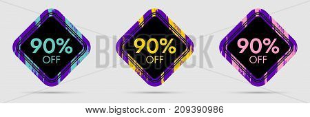 90 Off Discount Sticker. 90 Off Sale and Discount Price Banner. Vector Frame with Grunge and Price Discount Offer