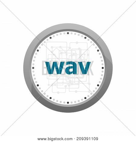 Wav Word On Digital Screen. Digital Concept . Abstract Wall Clock Isolated On A White Background