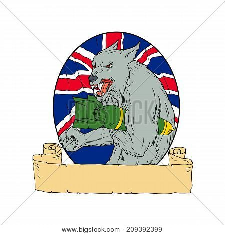 Drawing sketch style illustration of an angry British Grey Wolf Holding an iincendiary Bomb with Union Jack flag in background set inside circle.