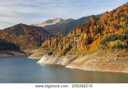 Dam lake in the Carpathians, Romania, Europe