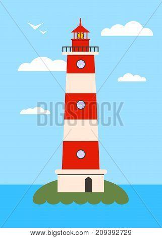 Lighthouse on Island with Navigation Light . Flat Illustration