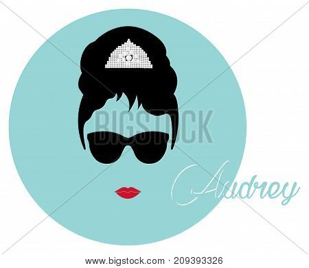 Audrey Hepburn, with black glasses, vector portrait isolated