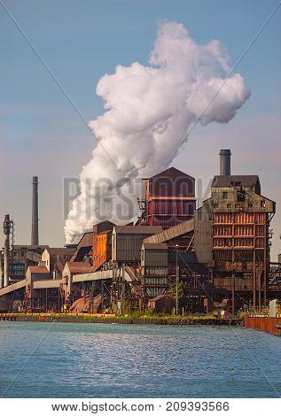 Working detroit river Michigan automotive steel mill