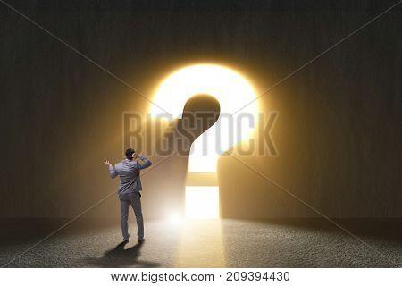 Businessman facing difficult choice dilemma