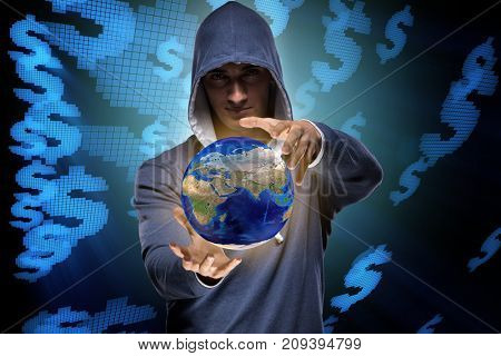 Hacker hacking banking financial system