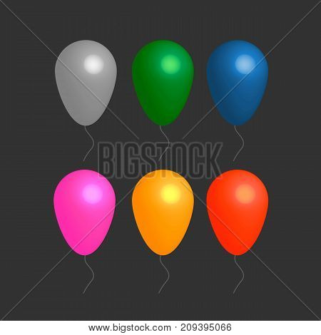 Colorful realistic helium balloons on black background