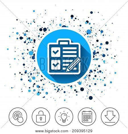 Button on circles background. Checklist with pencil sign icon. Control list symbol. Survey poll or questionnaire form. Calendar line icon. And more line signs. Random circles. Editable stroke. Vector