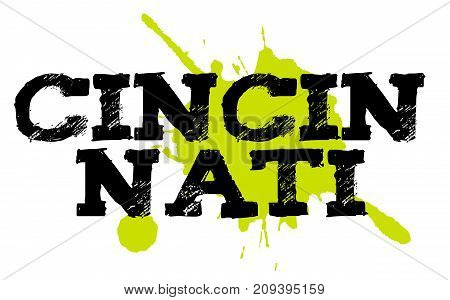 CINCINNATI sticker. Authentic design graphic stamp. Original series