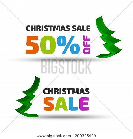 Christmas sale banner set with tree icon and shadow