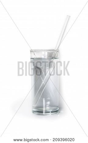 isolated glass of pure water with glass drinking straw and ice. object beverage.