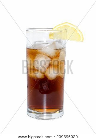 glass of cocktail or tea with ice and lemon isolated on white. object beverage.
