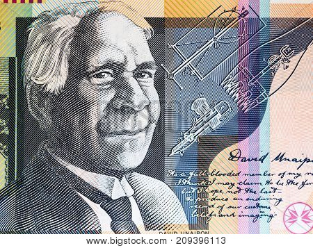 Portrait of Reverend David Unaipon from Australian 50 dollar background.