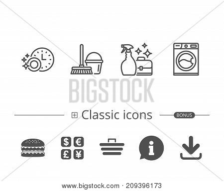 Cleaning, Washing machine and Housekeeping service line icons. Laundry, Mop and Maid equipment signs. Bucket and Dishwasher timer symbols. Information speech bubble sign. And more signs. Vector