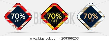 70 percent Off Discount Sticker. 70 Off Sale and Discount Price Banner. Vector Frame with Grunge and Price Discount Offer