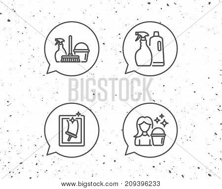 Speech bubbles with signs. Spray, Window Cleaning and Maid equipment line icons. Bucket, Mop and Housekeeping signs. Grunge background. Editable stroke. Vector