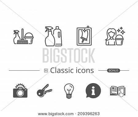 Spray, Window Cleaning and Maid equipment line icons. Bucket, Mop and Housekeeping signs. Information speech bubble sign. And more signs. Editable stroke. Vector