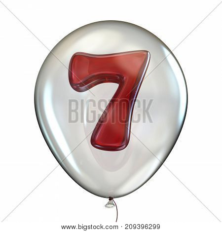Number Seven 7 In Transparent Balloon 3D
