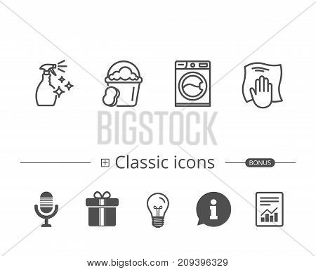 Cleaning spray, Washing machine and Housekeeping service line icons. Laundry, Sponge and Bucket signs. Maid equipment and Wipe with hand symbols. Information speech bubble sign. And more signs