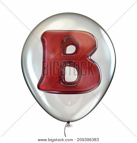 Letter B In Transparent Balloon 3D