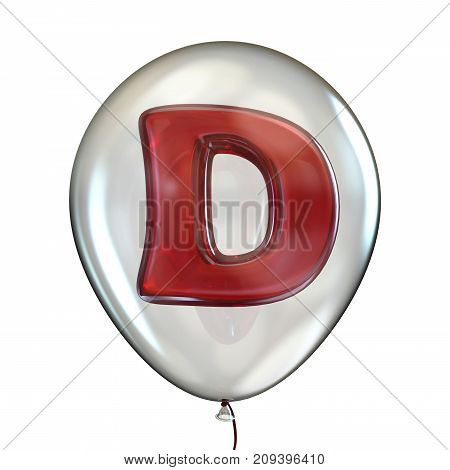 Letter D In Transparent Balloon 3D