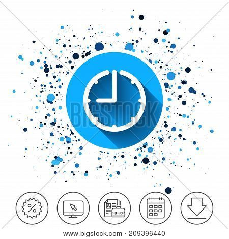 Button on circles background. Clock time sign icon. Watch or timer symbol. Calendar line icon. And more line signs. Random circles. Editable stroke. Vector