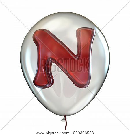 Letter N In Transparent Balloon 3D