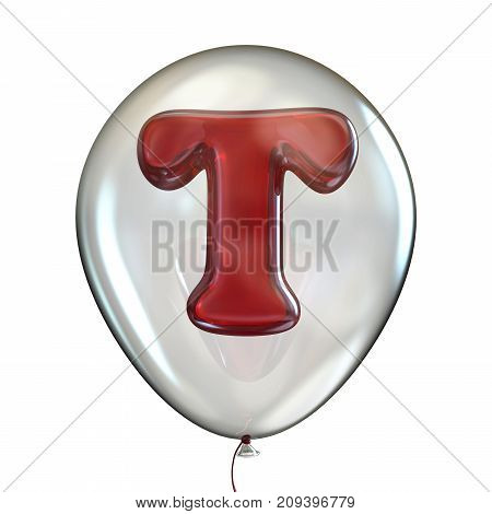 Letter T In Transparent Balloon 3D