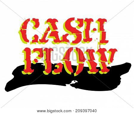 Cash flow sticker. Authentic design graphic stamp. Original series