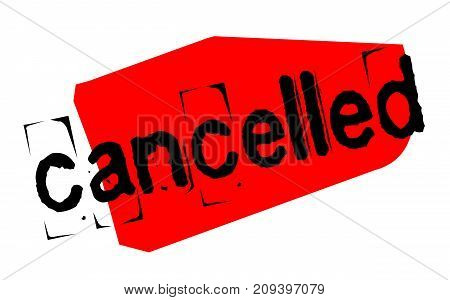Cancelled sticker. Authentic design graphic stamp. Original series