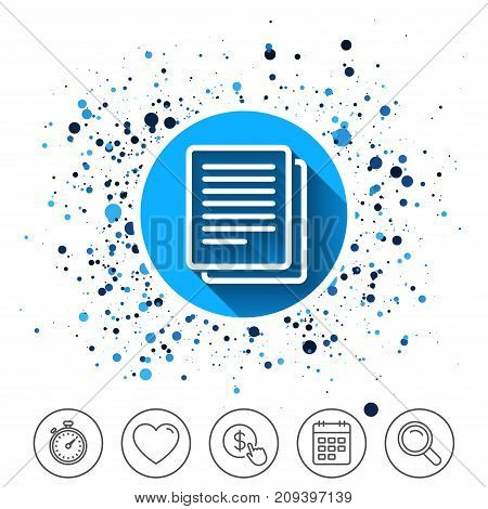 Button on circles background. Copy file sign icon. Duplicate document symbol. Calendar line icon. And more line signs. Random circles. Editable stroke. Vector