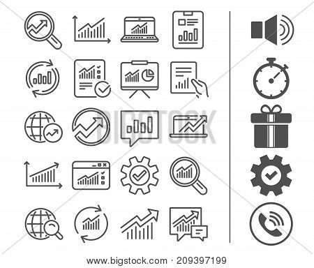 Analysis, Statistics line icons. Set of Charts, Reports and Graphs signs. Data, Presentation and Communication speech bubbles. Global Statistics, hold Document and Checklist. Bonus classic signs