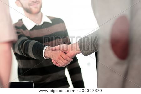 Successful Business People Shaking Hands With Each Other. Double