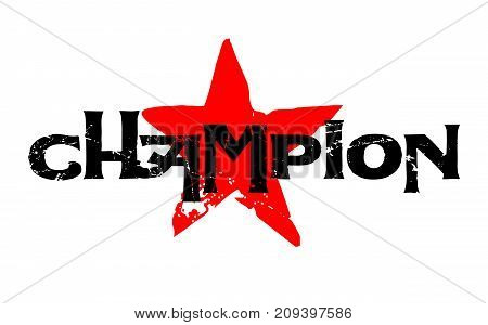 Champion sticker. Authentic design graphic stamp. Original series