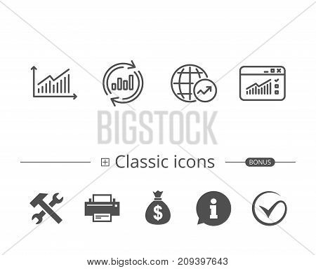 Analysis line icons. Chart, Report and Global Statistics signs. Browser window data and Presentation symbols. Information speech bubble sign. And more signs. Editable stroke. Vector