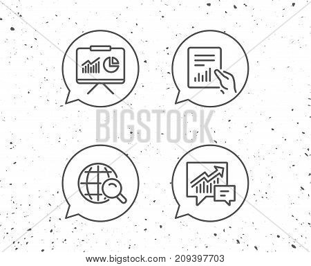 Speech bubbles with signs. Analysis, Statistics line icons. Chart, Report and Audit signs. Data Speech bubble and Presentation symbols. Grunge background. Editable stroke. Vector