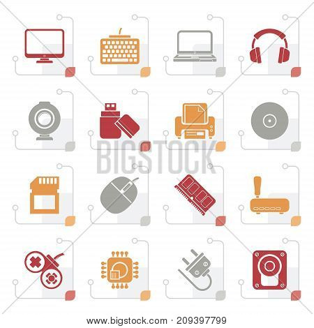 Stylized Computer peripherals and accessories icons - vector icon set