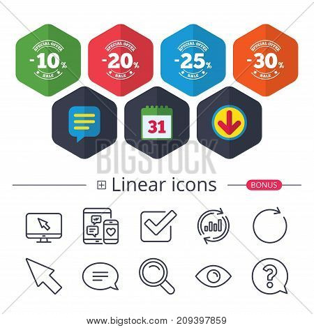 Calendar, Speech bubble and Download signs. Sale discount icons. Special offer stamp price signs. 10, 20, 25 and 30 percent off reduction symbols. Chat, Report graph line icons. More linear signs
