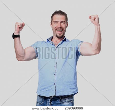Portrait Of Happy Successful Man on the White Background