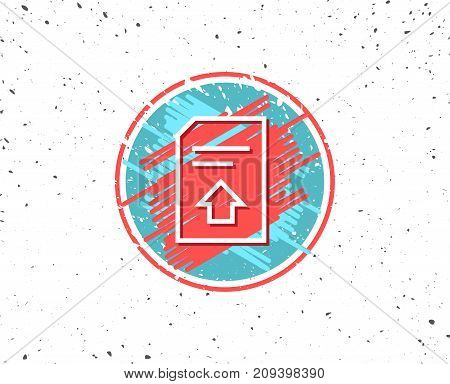 Grunge button with symbol. Upload Document line icon. Information File sign. Paper page concept symbol. Random background. Vector