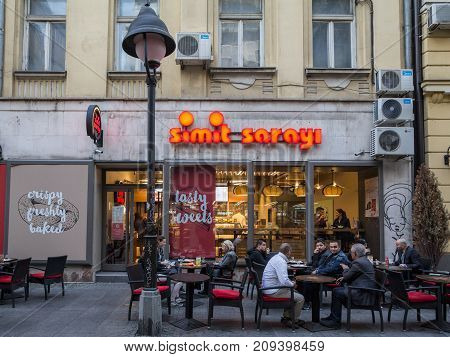 BELGRADE SERBIA - OCTOBER 14 2017: Main entrance of the Simit Sarayi of Belgrade. Recently opened in Serbia Simit Sarayi is the biggest fast food and bakery chain of Turkey