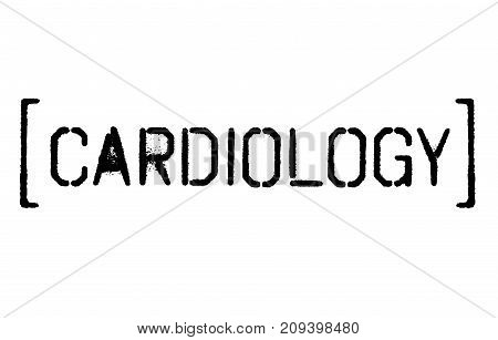 Cardiology sticker. Authentic design graphic stamp. Original series