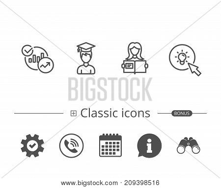 Woman hold book, Charts and Idea line icons. Bachelor or Master, Education and Instructions signs. Information speech bubble sign. And more signs. Editable stroke. Vector