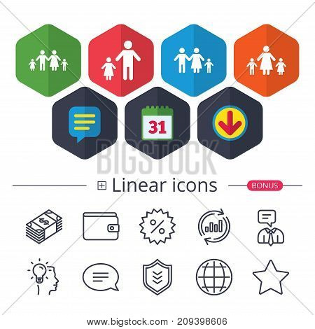 Calendar, Speech bubble and Download signs. Family with two children icon. Parents and kids symbols. One-parent family signs. Mother and father divorce. Chat, Report graph line icons. Vector