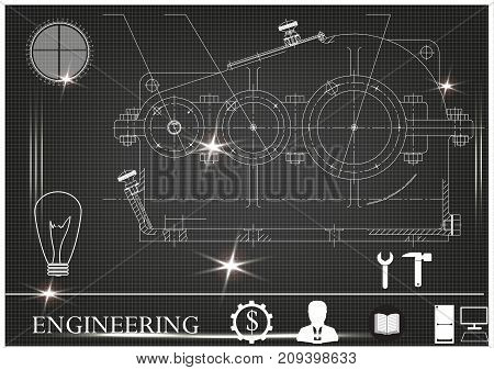 white drawing on a black background, engineering