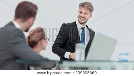 Successful business presentation of a man at the office