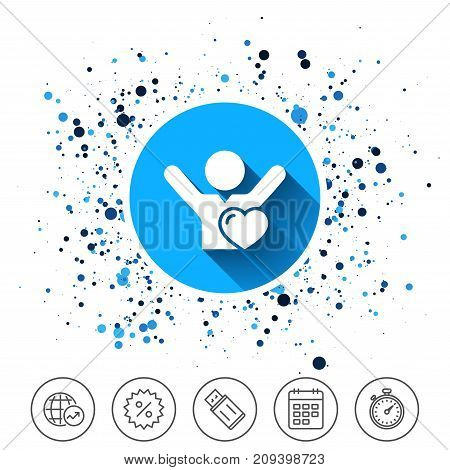 Button on circles background. Fans love icon. Man raised hands up sign. Calendar line icon. And more line signs. Random circles. Editable stroke. Vector